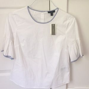 White JCrew Top with blue and white detail